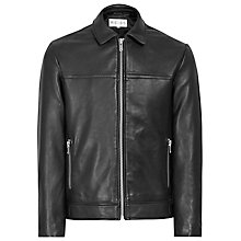 Buy Reiss Leoni Leather Jacket, Black Online at johnlewis.com