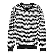 Buy Reiss Bishop Monochrome Weave Jumper, Black/White Online at johnlewis.com
