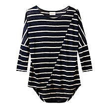 Buy East Stripe Linen Blend Top, Navy Online at johnlewis.com