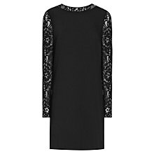 Buy Reiss Cersei Lace Sleeve Shift Dress, Black Online at johnlewis.com