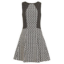 Buy Reiss Jersey Patterned Dress, Black / White Online at johnlewis.com
