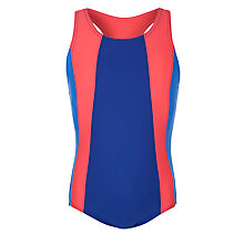 Buy John Lewis Girl Racerback Swimsuit, Blue/Multi Online at johnlewis.com
