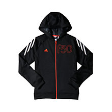 Buy Adidas Boys' Full Zip F50 Hoodie, Black Online at johnlewis.com