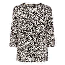 Buy Oasis Leopard Print Drape Sleeve Top, Animal Online at johnlewis.com