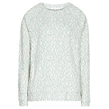 Buy Reiss Long Sleeve Textured Top, Blue / Cream Online at johnlewis.com
