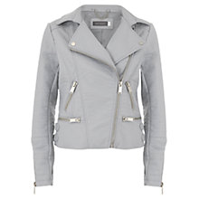 Buy Mint Velvet Faux Leather Biker Jacket, Grey Online at johnlewis.com