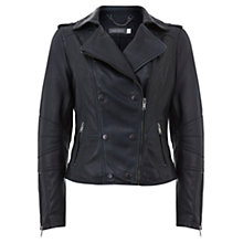 Buy Mint Velvet Leather Stud Biker Jacket, Blue Online at johnlewis.com