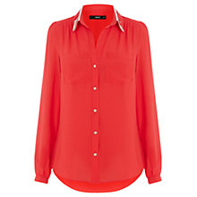 Buy Oasis Colour Block Shirt, Mid Red Online at johnlewis.com