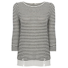 Buy Oasis Drop Stitch Stripe Sweater, Black/White Online at johnlewis.com