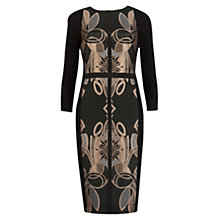 Buy Ted Baker Decadent Jacquard Dress, Black/Rose Gold Online at johnlewis.com
