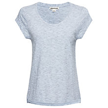 Buy Whistles Faye Marl Seam Back T-Shirt, Pale Blue Online at johnlewis.com