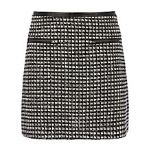 Buy Warehouse Mono Tweed Skirt, Black Pattern Online at johnlewis.com