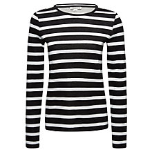 Buy Whistles Bonded Stripe Sleeved T-Shirt, Black/White Online at johnlewis.com