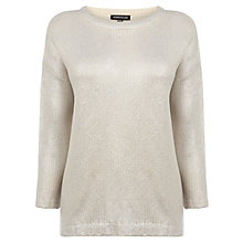Buy Warehouse Printed Metallic Jumper, Cream Online at johnlewis.com