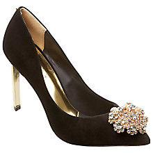 Buy Ted Baker Peetch Suede Court Shoes, Black Online at johnlewis.com