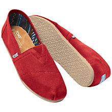 Buy TOMS Classic Canvas Espadrilles, Red Online at johnlewis.com