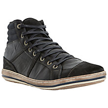 Buy Dune Solar Eclipse Leather Hi-Top Trainers, Black Online at johnlewis.com