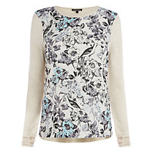 Buy Warehouse Bird Floral Jumper, Beige Online at johnlewis.com