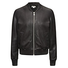 Buy Whistles Kay Leather Bomber Jacket, Black Online at johnlewis.com