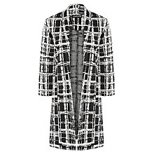 Buy Warehouse Checked Longline Jacket, Black Online at johnlewis.com