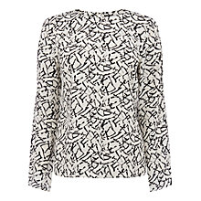 Buy Warehouse Patterned Printed Sleeve Top, Black Pattern Online at johnlewis.com