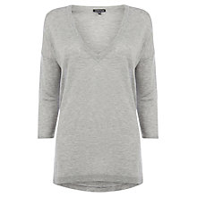 Buy Warehouse V Neck Side Split Jumper, Light Grey Online at johnlewis.com