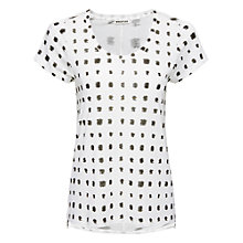 Buy Whistles Spot Seam Back T-Shirt, Black / White Online at johnlewis.com