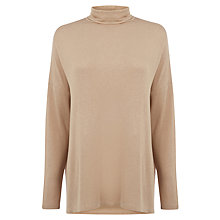 Buy Warehouse Split Side Polo Neck Top, Camel Online at johnlewis.com