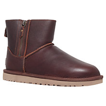 Buy UGG Mini Double Leather Ankle Boots, Brown Online at johnlewis.com