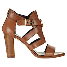 Buy Jigsaw Monique Leather Block Heeled Sandals, Tan Online at johnlewis.com