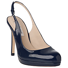 Buy L.K. Bennett Clemmie Patent Leather Slingback Court Heels, Navy Online at johnlewis.com