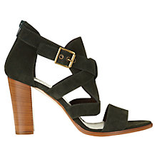 Buy Jigsaw Monique Leather Block Heeled Sandals, Green Suede Online at johnlewis.com