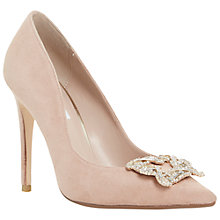 Buy Dune Breanna Jewelled Brooch Suede Court Shoes, Blush Online at johnlewis.com