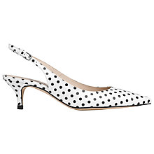 Buy L.K. Bennett Mira Slingback Patent Court Shoes, White/ Black Online at johnlewis.com