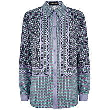 Buy Jaeger Silk Tile Shirt, Aquifer Online at johnlewis.com