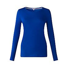 Buy Jigsaw Pima Long Sleeve T-Shirt, Electric Blue Online at johnlewis.com