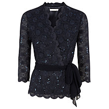 Buy Jacques Vert Sequin Lace Cross Front Top, Green Online at johnlewis.com
