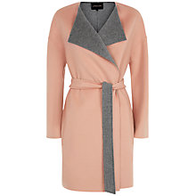 Buy Jaeger Double Faced Waterfall Coat, Pink / Grey Online at johnlewis.com