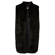 Buy Whistles Faux Fur Gilet, Black Online at johnlewis.com