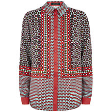 Buy Jaeger Silk Tile Shirt, Paprika Online at johnlewis.com