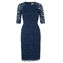Buy Jigsaw Stretch Lace Raglan Dress, Airforce Blue Online at johnlewis.com