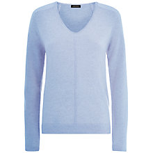 Buy Jaeger Cashmere V Neck Sweater, Mole Online at johnlewis.com