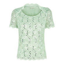 Buy Jacques Vert Scoop Neck Stretch Lace Top, Green Online at johnlewis.com