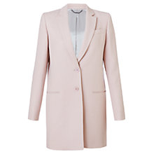 Buy Jigsaw Compact Wool Long Jacket, Pale Pink Online at johnlewis.com