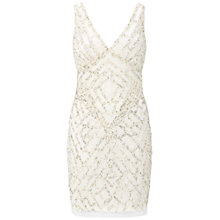 Buy Aidan Mattox Beaded V-Neck Cocktail Dress, Ivory Online at johnlewis.com