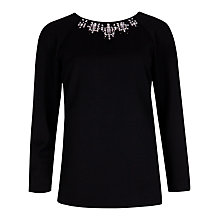 Buy Ted Baker Rounded Sleeve Embellished Top, Black Online at johnlewis.com