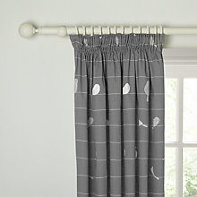 Buy John Lewis Bird on a Wire Lined Pencil Pleat Curtains, Steel Online at johnlewis.com