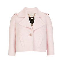 Buy Ted Baker Pod Cropped Biker Jacket, Baby Pink Online at johnlewis.com