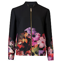 Buy Ted Baker Floral Crepe Bomber, Black Online at johnlewis.com