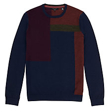 Buy Ted Baker Blokcru Colour Block Merino Jumper, Dark Blue Online at johnlewis.com